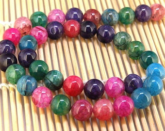 "Full One Strand Round Rainbow Agate Beads ----- 10mm ----- about 38Pieces ----- gemstone beads--- 15"" in length"