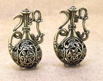3pcs Large 3D Charm Flagon pendant wine pot Flower Pendant  tone jug Pendant  Antique Bronze Fitting Connectors 35mmx 22mm  AA