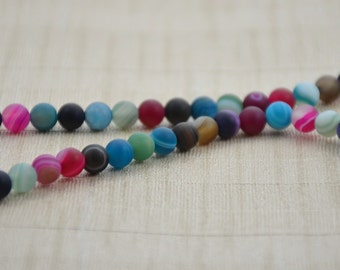 "Strand Round frosted surface Agate Beads --- 6mm  --- Blue Pink Rose Black Gemstone Beads ---15~15.5"" in Length"