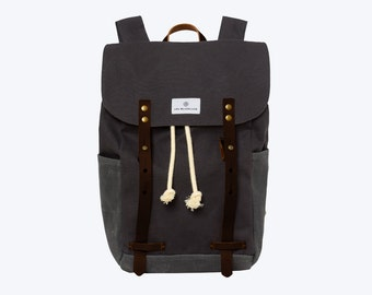 "No. 2 - Canvas and Waxed Backpack, Dark Grey, 13"" or 15"" Laptop Backpack, Waxed Canvas Backpack, Waxed Canvas Laptop Backpack"