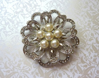 Sale Beautiful Ex-Large Crystal Pearl Rhinestone Silver or Gold Finish Brooch Brooches Bridal Bouquet Wedding Dress Sash Clutch Purse