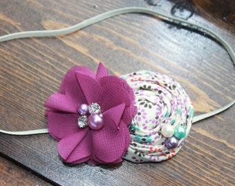 Purple rosette chiffon headband, baby headband, newborn headbands, flower headbands, vintage headbands, photography prop