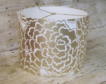 Small Lamp Shade Drum Lampshade made with Caitlin Wilson Gold Fleur Fabric