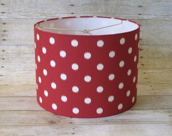 Lamp Shade Drum Lampshade Geometric Ikat Dots in Red and Natural