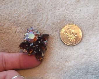 Vtg Pin-Topaz & Aurora Borealis Crystal Rhinestone Pronged - P2268