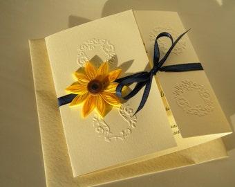 Sunflower and navy blue wedding invitation / Sunflower and navy blue / Sunflower wedding invitation