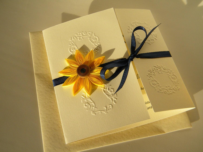 Sunflower And Navy Blue Wedding Invitation Sunflower And