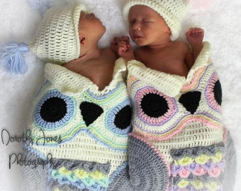 2 Owl Cocoons with matching hats for twins
