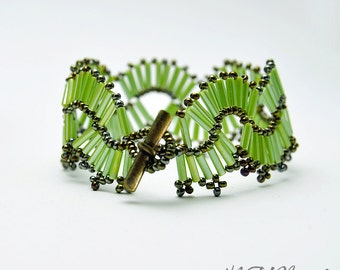 Beaded Lime Green Bracelet Bead Woven Cuff Russian Wave Beaded Wide Bangle Bead Weaving Statement Jewelry Gift For Her