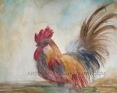 Vintage Rooster Print 8x10