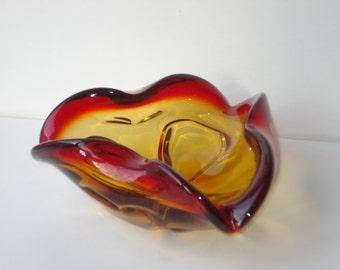 Murano Glass Dish - Red and Orange - Vintage Decor  - 1960s