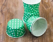 SALE - 15 small cups green with white polka dots