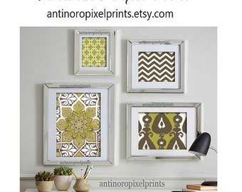 Green, Sage, Brown Art Wall Gallery Digital Print Vintage / Modern Inspired -Set of (4) -  Prints -  11x14, 8x10, 5x7, 4x6 (UNFRAMED)