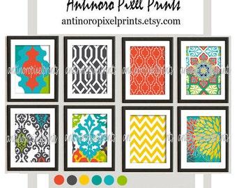 Digital Print Wall Art Multi Colors Vintage / Modern inspired Wall Art -Set of (8) - 8x10 Prints -   (UNFRAMED)
