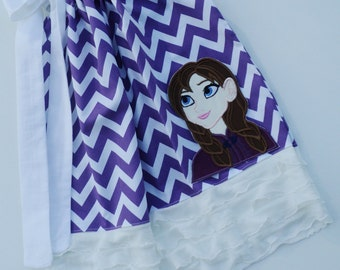 Frozen Princess Anna Bust On Purple Chevron Ruffle Pillowcase Dress