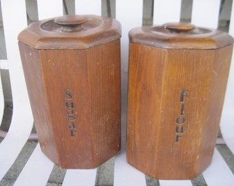 Wooden Canisters Flour and Sugar /