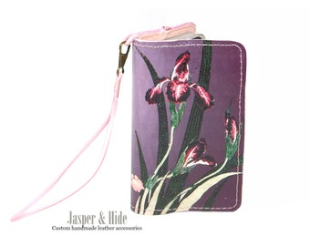 Printed Leather Phone Wristlet- Custom made for any phone - Flowers and Butterflies
