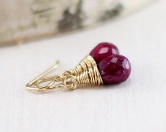 Gold Ruby Earrings, 14k Gold Filled Genuine Ruby Earrings July Birthstone Yellow Gold Wire Wrapped Dangle Earrings