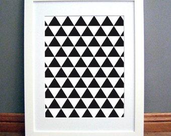 Triangle Grid Black Large, Printable Wall Art, Geometric, Black Modern, Downloadable pdf