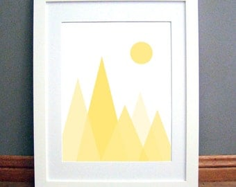 Mountain Print, Yellow Mountains, Geometric Triangle Print, Yellow Triangles, Geometric Print Printable Art Download