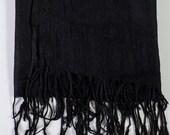 BLACK Cashmere Pashmina Silk Scarf
