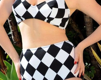 Black and White Harlequin 2 Piece Swimsuit In STOCK XS-2XL