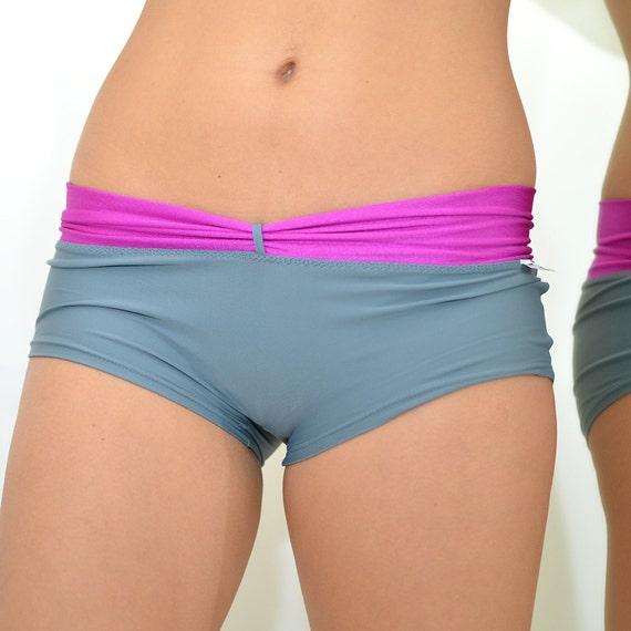 Shorts In Turquoise For Bikram Yoga: NEW Grey/fuchsia Shorts For Bikram Yoga