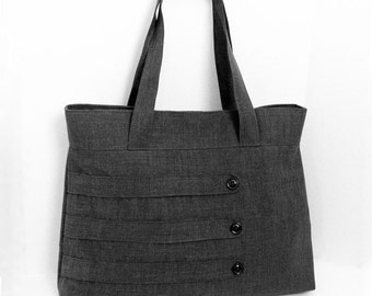 Customizable Large Tote Bag with Decorative Straps -- Choose Your Color