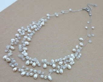White freshwater pearl and crystal necklace.