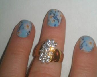 925 Sterling Silver Cluster Rhinestone Ring