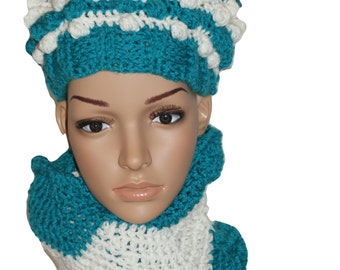Hat Scarf Set, Hat Cowl Set, Chevron Scarf, Ski Hat, Knit Chevron Scarf, Hipster Cap, Crochet Womens Hat, Winter Hat, Pom Pom Hat