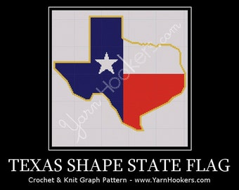 Texas State Shape Flag - Afghan Crochet Graph Pattern - Instant Download