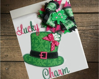 Lucky Charm Girls Shirt or Bodysuit w/ matching Hairbow