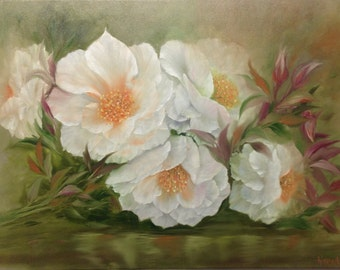 Musk Roses Oil Painting 23 1/2 x 15 1/2 inches box canvas
