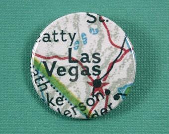 Pinback Button, Las Vegas, USA, Ø 1.5 Inch Badge, Atlas, Travel, vintage, fun, typography, whimsical