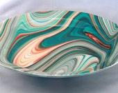 Southwestern Style Turquoise, Orange and White Fused Glass Bowl