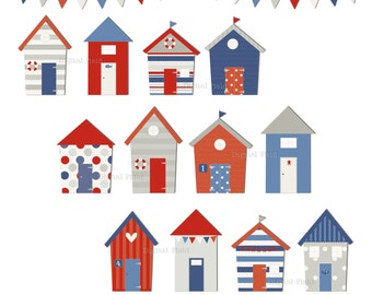 Beach huts clip art set - red blue grey printable summer digital clipart - instant download