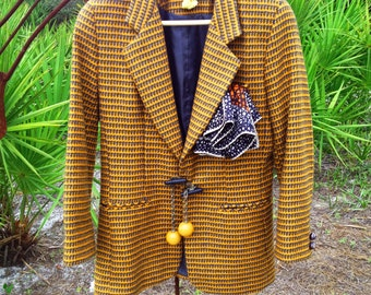 Claudia...Mustard Tweed Jacket with Bakelite-looking Ball and Chain Closure, Vintage Scarf and Buttons, Chain Back