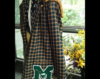 Twiss-Sea Green and Sepia Check Plaid Vintage Jkt with Vintage Butterscotch Color Buttons, Velvet Lined Fur Hood, and Vintage School Letter