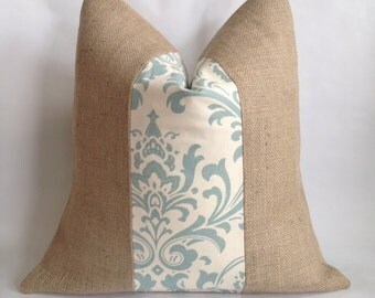 Cream and Village Blue Damask Fabric and Natural Burlap Pillow Cover