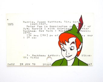 Peter Pan Library Card Art - Print of my painting of Peter Pan on library card catalog card