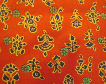 VTG Red Batik Style Floral Fabric, Red, Batik Style, Floral, Flower, Quilters Weight Fabric, Manes Fabric, Asian, Bright
