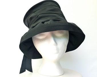 Vintage Mid Century Black Taffeta Hat  --  50s 60s Cloche by Designer Valerie Modes -- XS / S