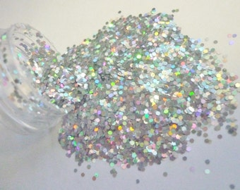 SALE Holographic Silver Glitter Medium Hexagon Cut 1 oz 0.040 Hex for Nail Art Scrapbooking and Crafts