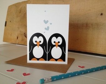 MR & MRS Penguin wedding card / Valentine Card. Can be personalised.