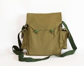 Vintage Military Bag 1980's, Green Cotton Canvas Messenger Bag, Crossbody Bag, iPad Bag, Unisex bag