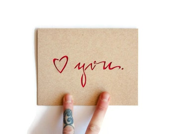 "Valentine Card: ""love you""--Laser Cut--custom color + inside message"