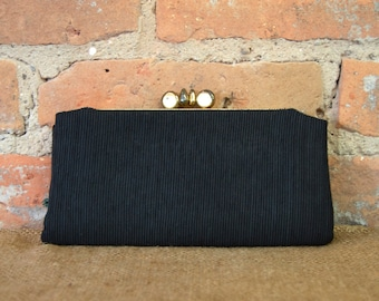 Vintage Little Black Corded Silk Clutch