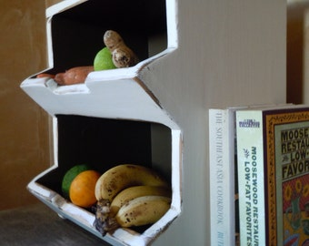 Jacob Hershburger's Kitchen Storage Boxes Primitive Rustic Country Chic 2 Bin White and Brown - MADE TO ORDER
