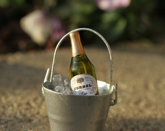 "Miniature Bucket of ""Ice"" and Bottle of Champagne or Wine  - FILLED BUCKET ONLY - No Glasses Included  - by Landscapes In Miniature"
